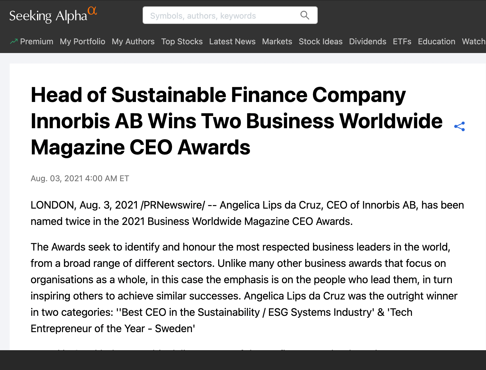 ''Best CEO in the Sustainability / ESG Systems Industry' & 'Tech Entrepreneur of the Year - Sweden'
