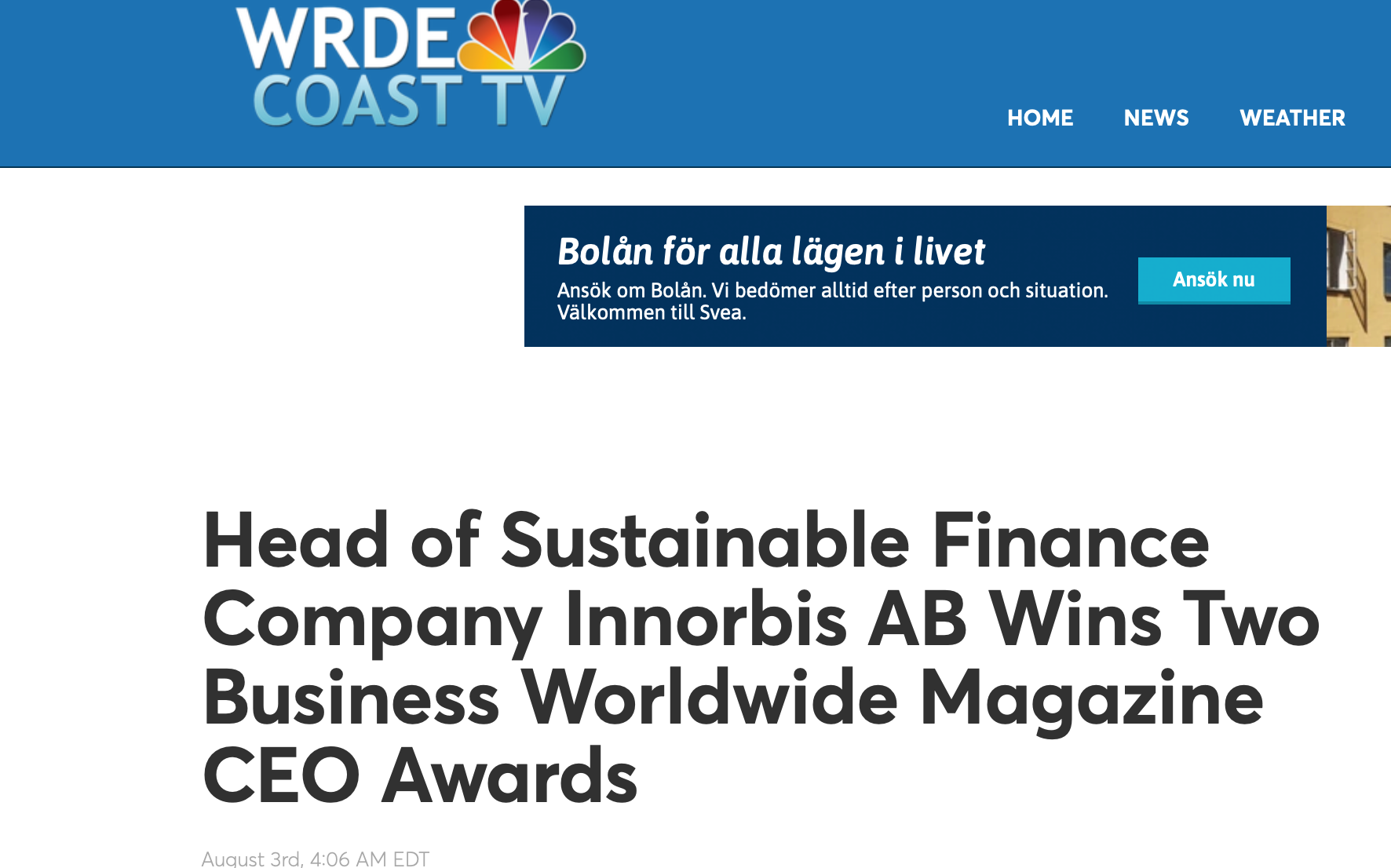 WRDE COAST TV: Best CEO in the Sustainability / ESG Systems Industry' & 'Tech Entrepreneur of the Year - Sweden'